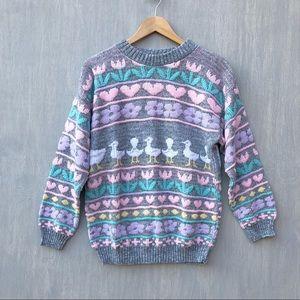 Vintage pastel duck sweater fairy kei flower heart